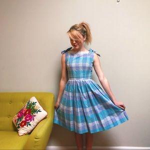 50s Lavender & Blue Bow Shoulder Day Dress